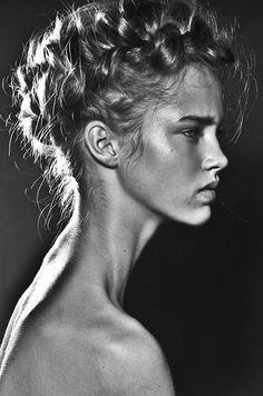 Profile view, black and white photograph, model name: Julia Jamin. She has gorgeous little nose and pouty doll like lips.