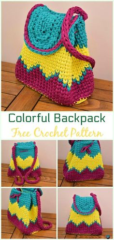 Crochet Colorful Backpack Free Pattern Video - #Crochet; #Backpack; Free Patterns Adult Version