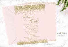 White Gold Bridal Shower Invitation Custom Bridal Invite
