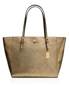COACH, COACH Turnlock Tote in Metallic Pebble Leather, was $295.00, now $221.25 From Bloomingdale's