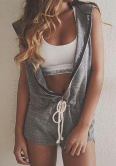 Grau uni Hooded Reißverschluss Schnür Taille Mid rise kurz Jumpsuit - Shorts - Unterteile