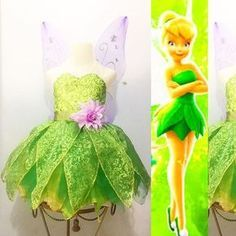 Imagen relacionada Tinkerbell Costume Toddler, Tinkerbell Party Theme, Tinkerbell Dress, Peter Pan And Tinkerbell, Fairy Birthday Party, Tangled Party, Princess Birthday, Princess Tutu Dresses, Disney Dresses