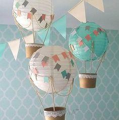 Whimsical Hot Air Balloon Decoration DIY kit , hot air balloon nursery , Unisex Baby shower , travel theme , travel theme nursery. #nurserydecor #hotairballoonparty #nurseryideas  #nursery #babyshower #babyroom #ad