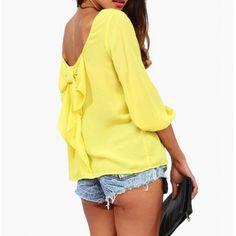 Elegante Scoop Neck Backless embellecido Bowknot de 3/4 de la manga de la gasa de la blusa para las mujeres para Vender - La Tienda En Online IGOGO.ES