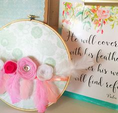 Feather hoop art for Bird/Flamingo Themed Girls' Room in Aqua, Pink, Peach, Coral & White  Verse Printable from #MintCherries on #Etsy