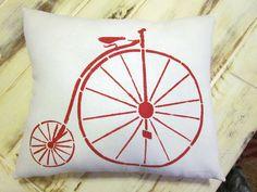 Bicycle pillow shabby chic farmhouse decor by 112FarmhouseLayne, $18.00