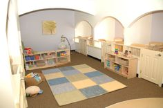 Our infant room welcomes students with their own individualized crib suites.