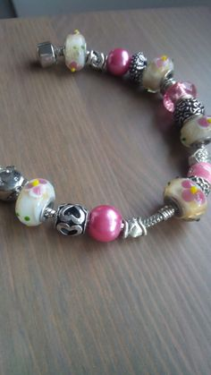 Bracciale Snake in Argento Acciaio Donna Perle in Vetro a Beads Bead foro largo tipo Trollbeads Pandora