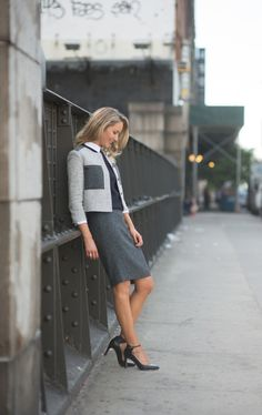 classic pencil skirt with tweed blazer