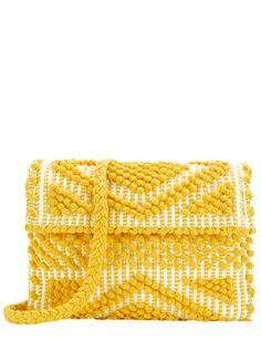 Antonello EXCLUSIVE Suni Foldover Cotton Clutch: Yellow