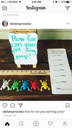 Pin This pin shows frogs being used to measure and compare. The toy frogs are sprung forward then measured and compared. Maths 3e, Maths Eyfs, Primary Maths, Numeracy, Math Classroom, Measurement Kindergarten, Measurement Activities, Math Measurement, Kindergarten Activities