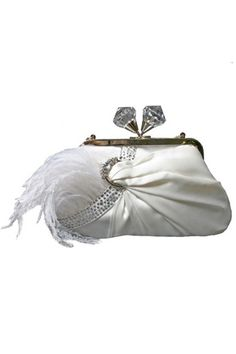 MARY FRANCES 1920's Style White Kiss Lock Aria Handbag - Unique Vintage - Homecoming Dresses, Pinup & Prom Dresses. #DBBridalStyle