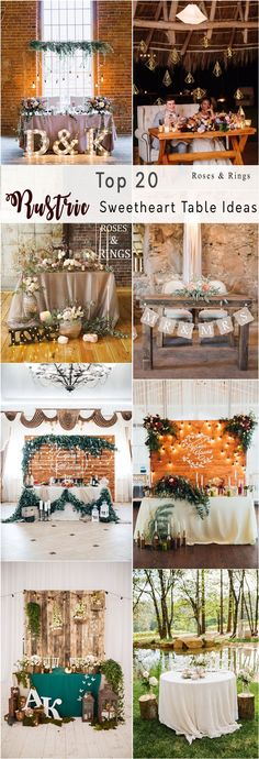 Rustic country wedding head table decor