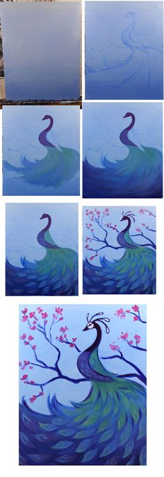 Peacock And Blossoms Progress Colors Blue White Yellow Red Brushes Big Flat Medium Small Round