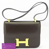 Model : Constance, Price : Please email us at luxuryvintagekl@gmail.com, Material : Box Leather, Hardware : Gold, Colour : Dark Brown, Condition : Good, Measurement : L 23 X H 18 X W 5 cm.