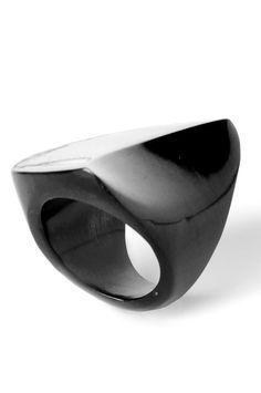 Elbeto black horn ring. 100% hand carved & buffed