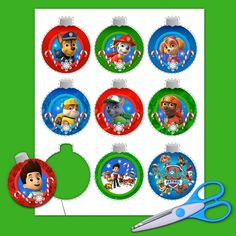 """Add more """"bark"""" to your Christmas tree with these easy PAW Patrol Christmas Ornaments. Disney Christmas Decorations, Christmas Trees For Kids, Christmas Tree Themes, Christmas Tree Toppers, Christmas Fun, Xmas Tree, Christmas Nails, Paw Patrol Christmas Ornaments, Christmas Ornament Template"""