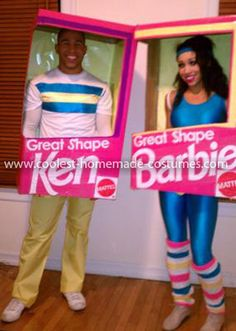 Coolest Barbie and Ken in a Box Costume... This website is the Pinterest of costumes