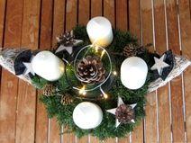 XL shabby Landhaus Board mit Adventskranz + Kerzen