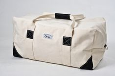 """Just the right size to hold everything for the weekend. Made of 20 Canvas, 2"""" heavy Cotton Webbing and reinforced with leather. This is the largest size allowed as carry on luggage on most airlines. ($72)"""
