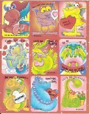 Vtg Cleo Valentine Loveable Alien Critter Stickers Sheet