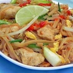 This is a traditional Pad Thai recipe used by a friend's mother. It has a sauce of fish sauce, sugar, vinegar and red pepper.