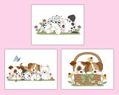 PUPPY NURSERY PRINTS Wall Art Baby Girl Boy Dog Room Decorations Childrens Puppy Bedroom Kids Room Baby Shower Party Dog Gift Decor #decampstudios