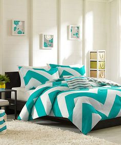 Dress your bed in the Libra Reversible Chevron Duvet Cover Set for a bold pop of color. Decked out in a bright teal and white chevron design and a scaled-down grey and white chevron reverse, the duvet cover is a fun and funky addition to any bedroom. Blue Comforter Sets, Chevron Duvet Covers, Duvet Sets, Duvet Cover Sets, Twin Comforter, Teen Bedding, Pink Bedding, Blue Duvet, Bedding