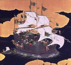 Namban art developed after the first Portuguese ships arrived in Kyushu, Japan in 1543