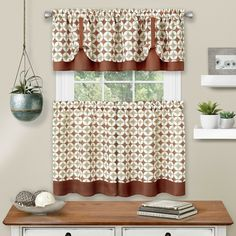 Farmhouse Chic Geometric Designed Checkered Rod Pocket Complete 3-Piece Caf? Style Set Window Curtain Treatments For The Home. Features an exquisite geometric pattern and dual solid color coordinated design. Made of a durable polyester blend oven fabric. These window treatments will bring together any room. Ready to use out of the package. No detail was spared. Size: 36. Color: spice. Kitchen Window Curtains, Kitchen Curtain Sets, Cafe Curtains, Drapes Curtains, Valance, Kitchen Windows, Curtain Panels, Geometric Curtains, Geometric Tiles