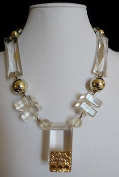 Runway LUCITE and Golden Necklace