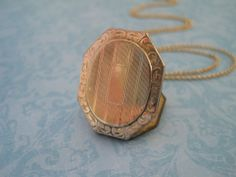 Antique Locket Locket with Stripes and Floral Border. Antique Locket, Vintage Lockets, Floral Border, Wwi, Makers Mark, Gifts For Her, Monogram, Stripes, Antiques