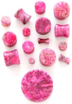 """Fuchsia Agate Organic Stone Round Solid Saddle Plug Flesh Tunnel - Available in Sizes 8g - 1/2"""""""