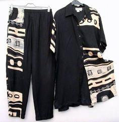 zwart/beige afrikalook broek/blouse  Mt L Prijs: € 10,00