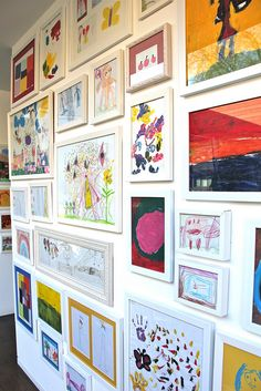 As you all know by now I love displaying kids artwork! Here is a plain hallway wall I recently completed for a client by framing art w. Displaying Kids Artwork, Artwork Display, Art Wall Kids, Art For Kids, Kids Art Galleries, Casa Kids, Deco Kids, Toy Rooms, Kids Corner