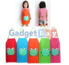 Cartoon Frog Print Kids Children Waterproof Apron Overclothes For Painting
