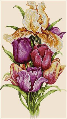 Free cross-stitch pattern 'Tulips' Pattern Name: Tulips Fabric: Aida 14, Cream 169w X 298h Stitches Size(s): 14 Count, 30.66w