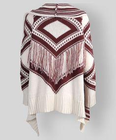 228acb971a Maroon and cream fringe aztec print cardigan.  AggieGifts  AggieStyle Aztec  Print Cardigan