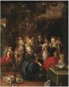 1599-1646. Frans Francken the Younger (1581-1642) The Witches' Sabbath.oil on panel.51.5×39.5 cm.Notes- Sold at Christie's on 8 May 2012 in Amsterdam lot 81.