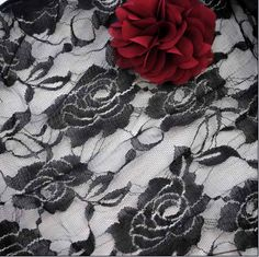 "63"" Soft Black Lace Fabric Black Lace Trim with Bautiful Flower Embroidery #Black #LaceTrim #Rose #Vintage"