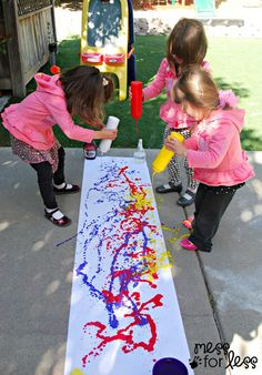 Squirt Bottle Painting- fun! I can see a paint fight happening though. :-D