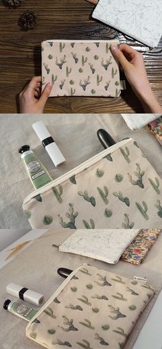 This cute cotton pouch with cactus patterns are for anyone who is looking for a simple and durable pouch to store the small essentials!