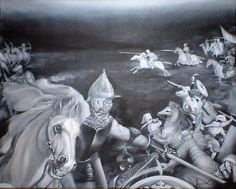 """""""Battle with the Turks"""" (not finised, oil on canvas, 50 x 40 cm, 2009)"""