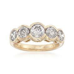 Ross-Simons - 2.00 ct. t.w. Diamond Bezel Ring in 14kt Yellow Gold