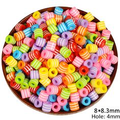 8 10MM Large Hole Cylindrical Shaped Striped Acrylic Beads 50pcs/Lot DIY Mixed Candy Color Plastic Loose Bead For Jewelry Making