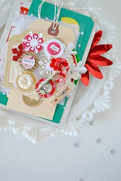 for the pic only.  This is someone's Etsy offering that was sold but I love the use of mixed media and layering.Christmas Scrapbooking Mini Album