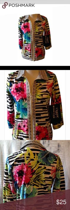 Multi Color Knit Zipper Front Top New With Tags Beautiful jersy knit multi colored jacket from Onque originals.  This can be worn by itself or with a top under it.  Cute zipper embelishments.  Side slit pockets. Curvy Couture Tops Sweatshirts & Hoodies