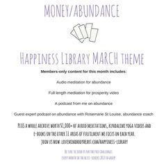 So what do Happiness Library members get for our MONEY/ABUNDANCE theme this month in March?  a brand new audio meditation for abundance. practice video for our meditation for prosperity.  Two podcasts with tips on how to live a more abundance life.  my Be Fulfilled workbook guiding you through intention setting for this area of fulfilment this month  Sounds good? Sign up before the price goes up at the end of the month: http://ift.tt/2lrpzbV   #marchchallenge #happinesslibrary #blissseekers…
