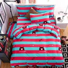 Jurassic dinosaurs Owl Panda Totoro Cat Cartoon 3/4pcs bedding set duvet cover bed sheet pillowcase bed linen bedclothes