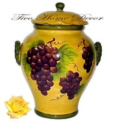 COOKIE JAR, CANISTER TUSCANY GRAPE WINE DECOR by ACK. $25.97. grapes have been delicate hand-painted to bring the true color of grapes tuscany style.Add this collection to your home & Kitchen.If you enjoy Wine Decor you will really enjoy it this collection.This collection is not sold in ordinary stores.Perfect gift for a grape wine collector.Product Details 100% fine ceramic Excellent Quality Tuscany Italian style ( made in China) Hand-painted each item Dinnerware items/dishwa...